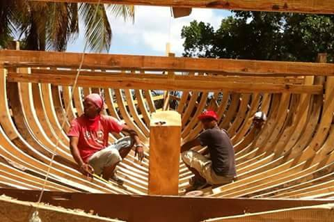 Traditional boat building in windward.