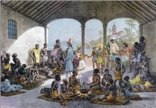 Slaves on sale in the Caribbean markets.