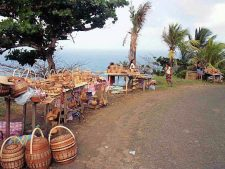 Dominican handicraft stalls along the road.