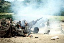 Howitzers during Urgent Fury/