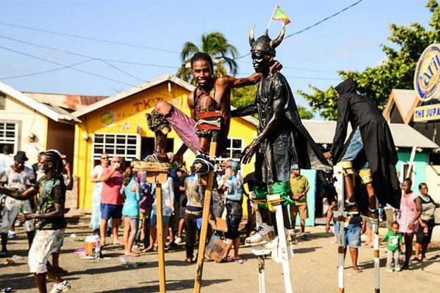 Carriacou carnival with traditional Jab Jab Devil figures.