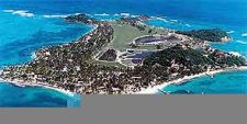Aerial picture of the resort on Palm Island,