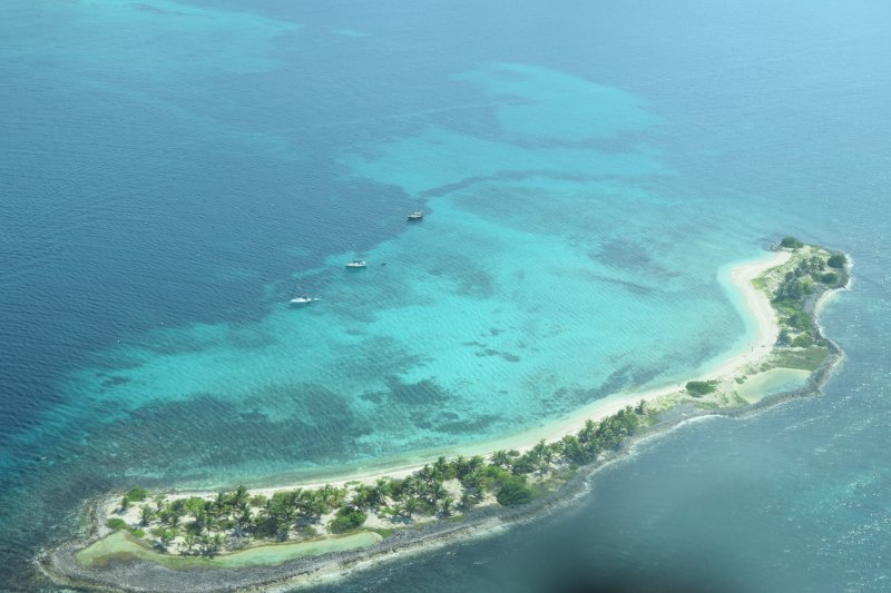 Aerial picture of Sandy Island.