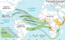 Map of slave trade between Africa and the Americas.