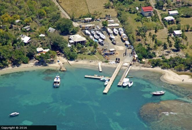 Yachtclub, boatyard and yacht haulout.