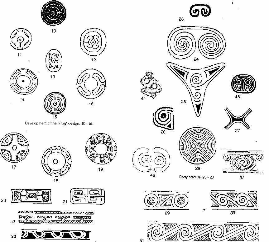 Amerindian art patterns of the Taino.