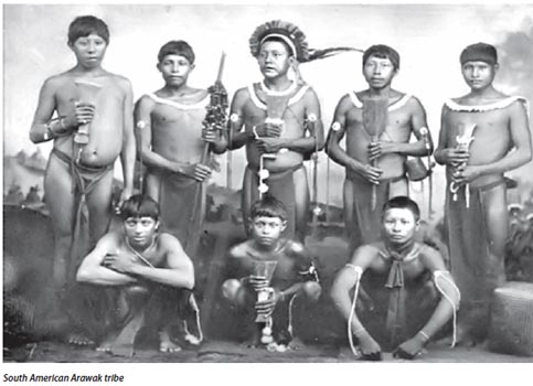 Traditional dress of the Arawak men.