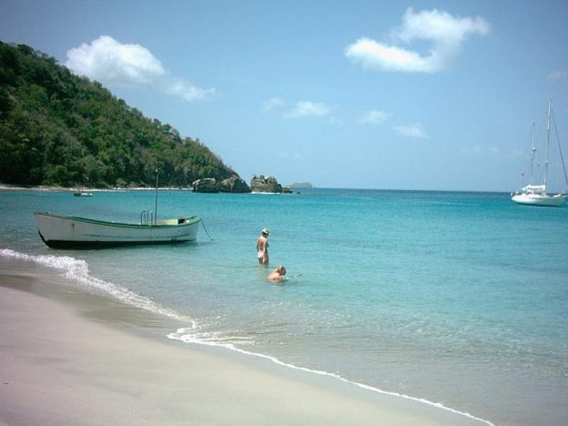 The beach at anse la roche carriacou.