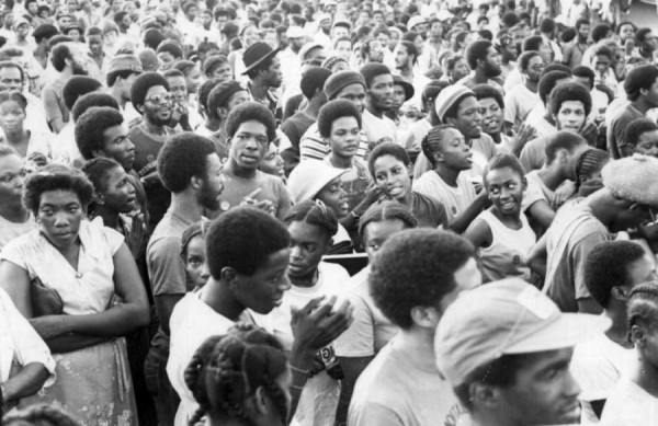 Grenadians rally in support of the new People's Revolutionary Government, March 1979.