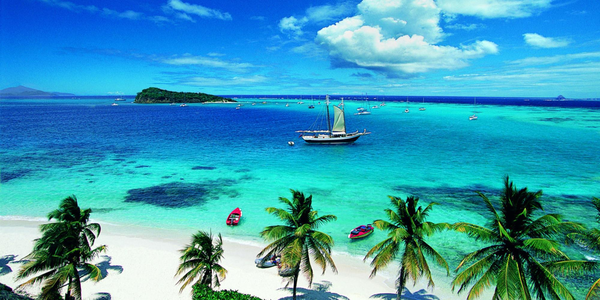 Sailboats in the Tobago Cays - Grenadines.