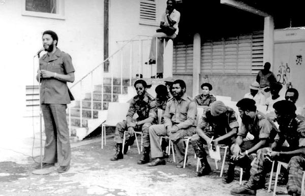 Maurice Bishop speeching during the Grenada Revolution.