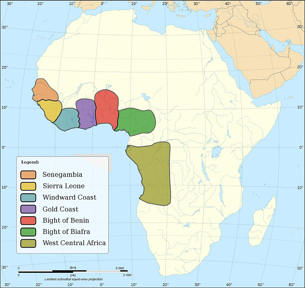 Countries where the slaves originated.
