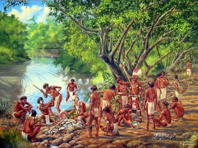 Arawak and Taino at a riverside.